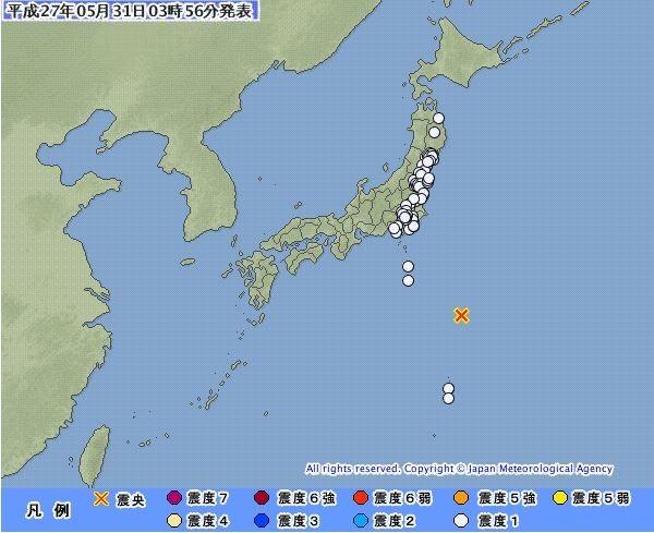 日本伊豆群島外海31日當地時間凌晨3點49分發生芮氏規模6.3地震。(圖片擷取自日本氣象廳)