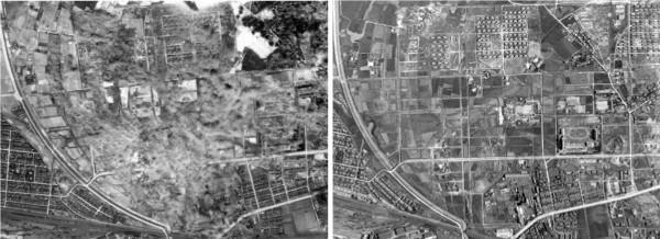 張維斌引用「打鹿文史工作室」甘記豪珍藏的照片顯示,位於現在台北市市民大道、長春路、新生北路、建國北路所圍起來的區域,在1945年4月16日就遭受猛烈空襲(左圖)。  右圖為2個月後的空照,可見即便當地多為農田也成美軍的轟炸目標。  (記者曾韋禎翻攝自「TAIWANAIRBLOG」)