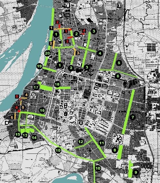 洪致文將1944年美軍繪製之台灣城市地圖作為底圖,描繪上台北市內所劃設的防空空地與防空空地帶。紅色是第一次指定的第一防空空地,黃色是第一次指定的第二防空空地帶,綠色為第二次指定的20處防空空地。其中的7、8、9就是現今的金山南路與師大路。(記者曾韋禎翻攝)