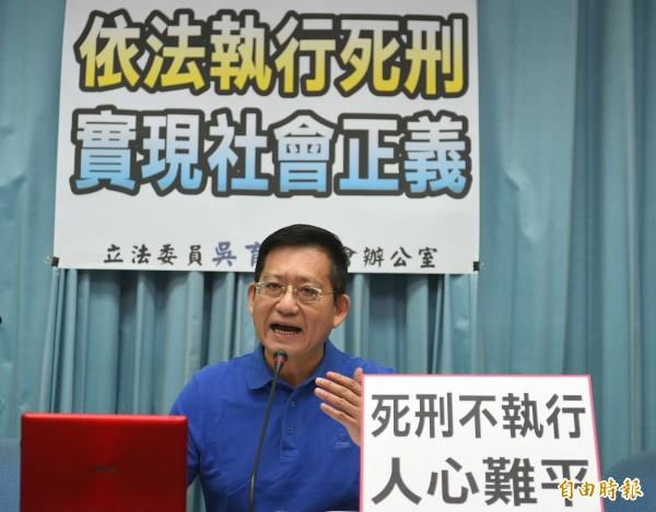 國民黨立委吳育昇今天指出,將提案修法,死刑定讞的囚犯「3日內儘速執行」,引發網友砲轟。(記者張嘉明攝)