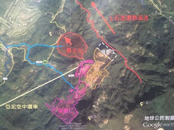 新竹縣議員周江杰指出,關西鎮亞泥玉山礦場等3個開發案,事實上在同一基地礦區,環評委員要求業者應做整體評估。(周江杰提供地球公民製圖)