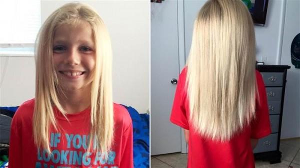 克里斯汀才年僅8歲,但愛心卻不落人後,不為同學的霸凌及旁人的眼光,依舊堅持自己的決心,要留下一頭長髮捐給癌症病友。(圖取自Today.com)