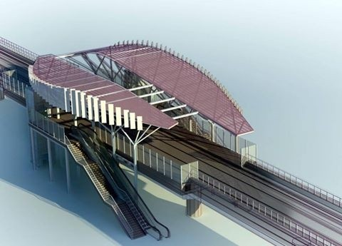 高雄輕軌真愛碼頭站模擬圖。(圖擷取自臉書JR Chen's Transportation World)