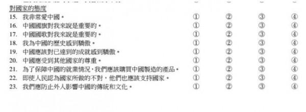 香港小學生都要填的「情意及社交表現評估套件」(APAASO)問卷,竟然要求學生回答認同中國。(圖擷取自《熱血時報》網站)