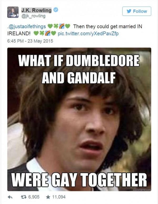 愛爾蘭上個月底公投通過同性婚姻後,支持者J.K.羅琳曾發圖文慶祝,並說「如果鄧不利多和甘道夫成了同性伴侶會怎樣」?(圖擷自推特)