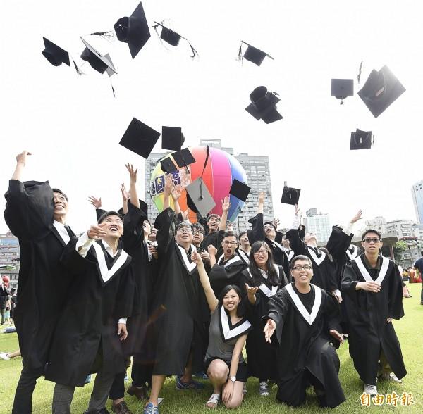 師大畢業典禮在師大大禮堂舉行,畢業生拋起學士帽慶祝畢業。(記者陳志曲攝)