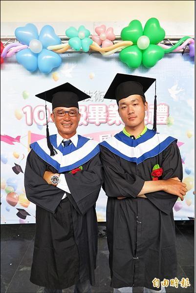 松添(左)為了兒子劉為(右)的學習,一同報考進修部陪讀。(記者林欣漢攝)