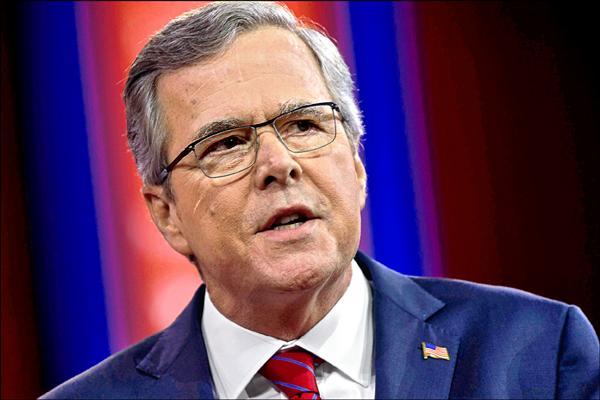 前佛州州長傑伯.布希十五日正式宣布角逐共和黨提名,參加二○一六年美國總統大選。圖為傑伯今年二月二十七日在「保守政治行動委員會」(CPAC)年會發表談話的檔案照。(法新社)