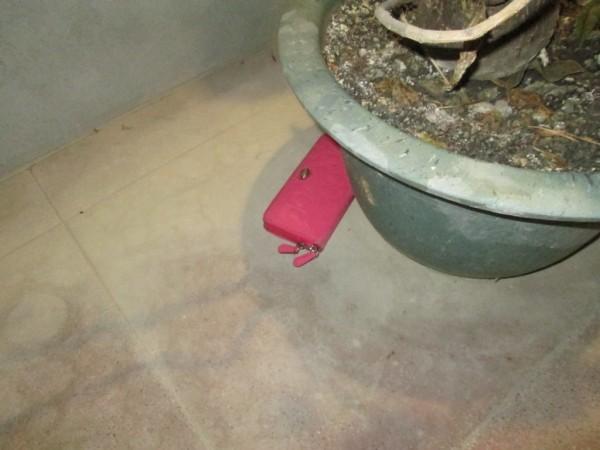 潘嫌見行跡敗露,趕緊將竊得的粉紅色長夾丟棄在花盆旁。(記者邱芷柔翻攝)