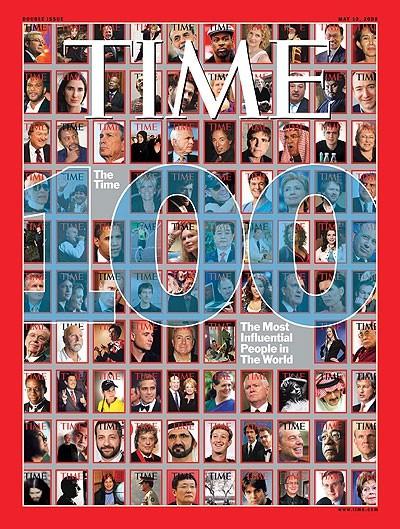 2008年5月,《時代》雜誌公布「年度百大影響力人物」,馬英九以台灣總統當選人之姿入選,排名第19名,與達賴喇嘛、時任美國總統參選人歐巴馬並列當期封面。(圖擷取自網路)