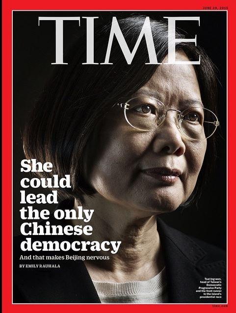 民進黨主席、總統參選人蔡英文登上美國《時代雜誌》(Time)封面。(圖擷取自《時代雜誌》Instagram)