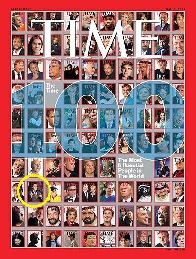 總統馬英九也曾躍上《時代雜誌》封面(黃色圈圈處),獲得年度百大最有影響力人物。(圖擷自網路)