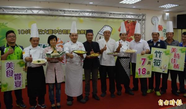 太平區農會結合6家餐廳,以太平麻竹筍、皇帝筍研發創意料理,今天正式對外公佈接受訂桌。(記者陳建志攝)