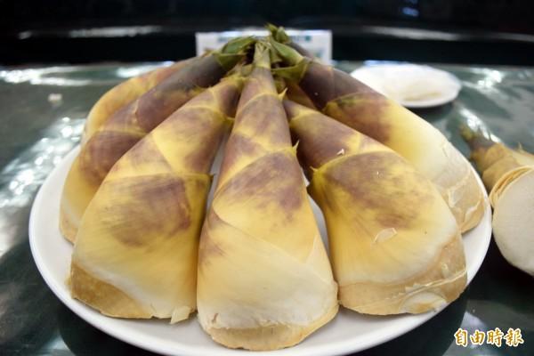 泰山農友陳黃條種出甜度達8度的甜筍,口感極佳。(記者陳韋宗攝)