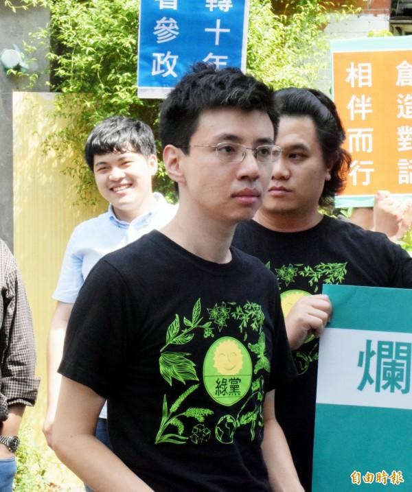 綠黨賈伯楷宣布參選新莊區立委。(記者陳韋宗攝)