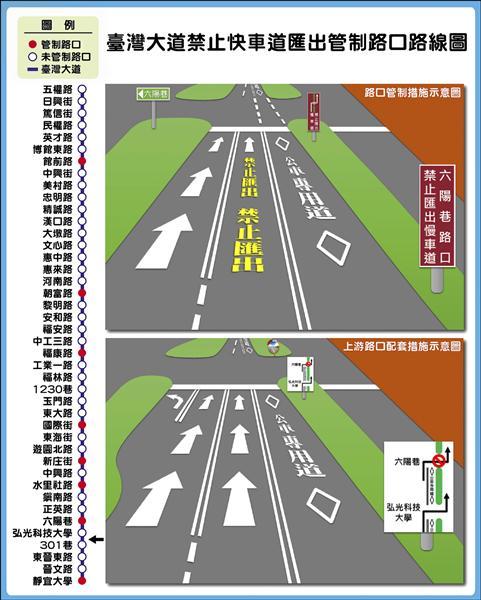 台灣大道禁止快車道匯出管制路口路線圖。(記者黃鐘山翻攝)