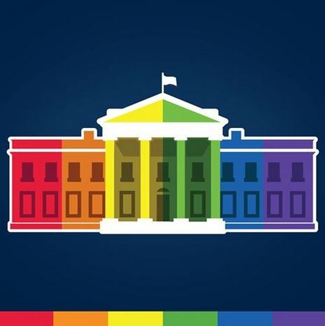 白宮臉書(The White House)將大頭照換成彩色花紋的白宮圖案,慶祝同志婚姻合法化歷史性的一刻。(圖擷取自The White House臉書)