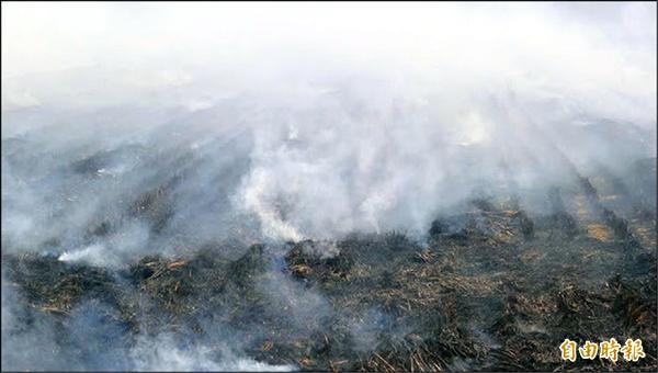 一期稻作收成期,各地焚燒稻草嚴重,濃煙四竄。(記者黃鐘山攝)