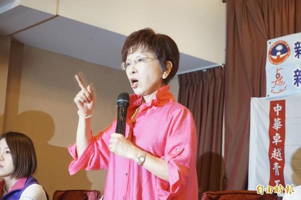洪秀柱出席國民黨青年工作會議,對於民調僅輸蔡5%,她認為還是差,要全力以赴。(記者張安蕎攝)