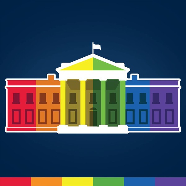 白宮的臉書專頁換上七色彩虹版的白宮圖樣。(圖取自The White House臉書)