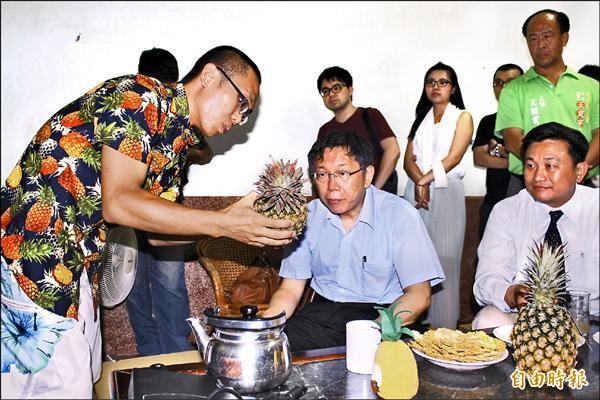 楊宇帆(左)向柯文哲介紹鳳梨的天然栽種方式與生態。(記者林孟婷攝)