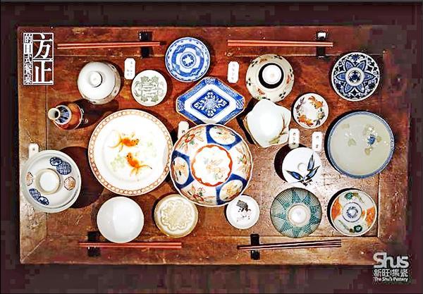方正的日式餐桌,常擺滿各種裝小菜的淺皿與缽。(新旺集瓷提供)