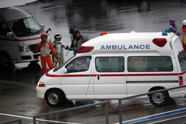 日本正在執行勤務之救護車。(路透)