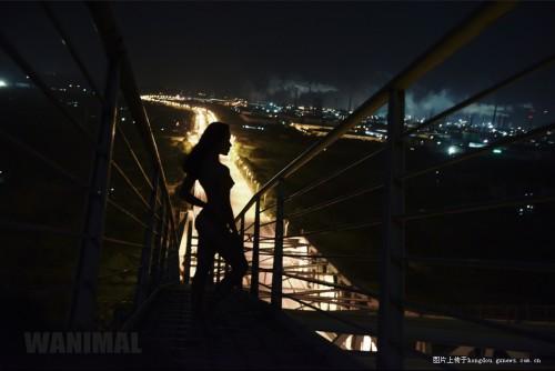在王動的最新作品中,女模站在白露大橋上背光入鏡。(圖片擷取自深圳之窗)