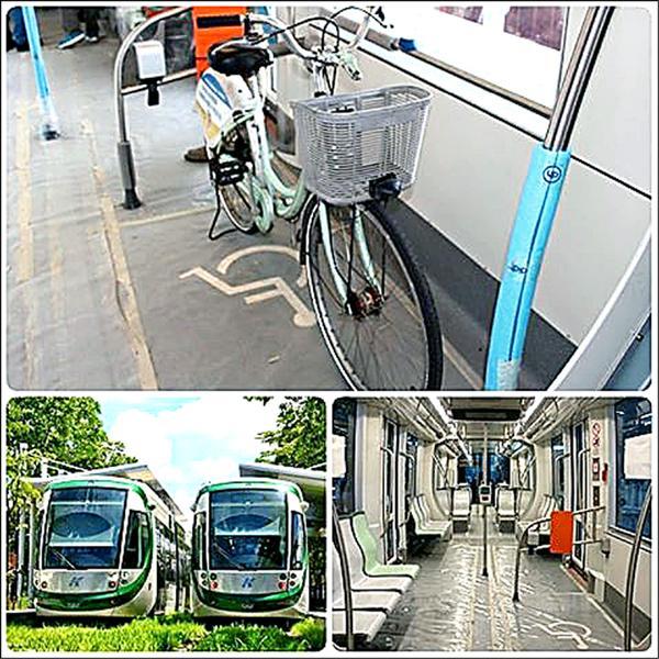捷運局日前測試單車上輕軌會佔用多少空間,但考量試營運勢必吸引大批人潮,因此決定試營運期間暫不開放單車。(記者王榮祥翻攝自JR Chen`s 臉書)