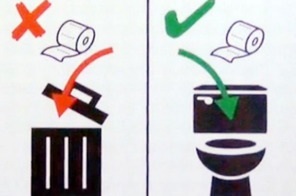 瑞士的鐵路公司發現部分遊客如廁時經常不守規矩,只好貼出標示圖作為提醒。(圖片擷取自《鏡報》)