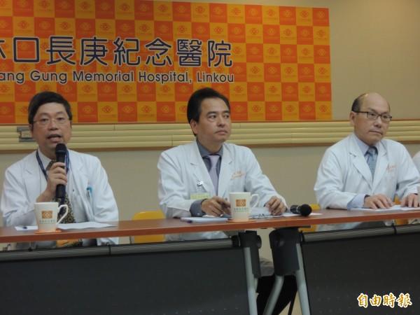 林口長庚醫療團隊,對外說明八仙塵爆傷患傷患留置情況。(記者鄭淑婷攝)