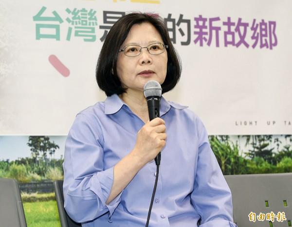 民進黨總統參選人蔡英文。(資料照,記者陳志曲攝)