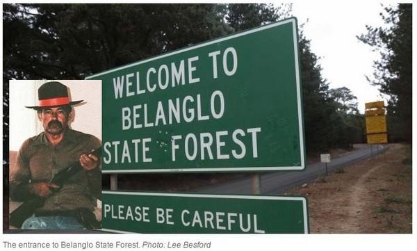 澳洲一旅行社日前推出前往連環殺人犯棄屍點之旅,引發外界砲轟。圖為貝朗奴州立森林(Belanglo State Forest)和殺手米拉特(Ivan Milat)照片。(圖擷自《雪梨晨鋒報》)