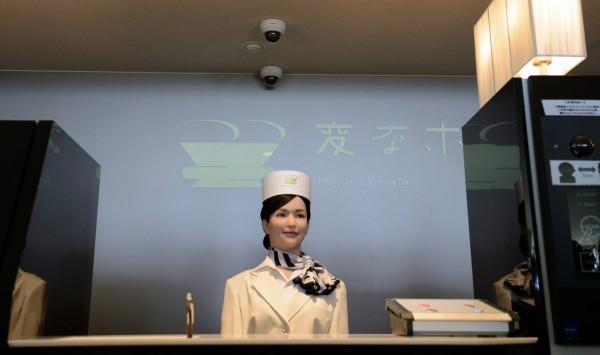 「奇怪酒店」的櫃台接待人員全部都是機器人。(彭博社)
