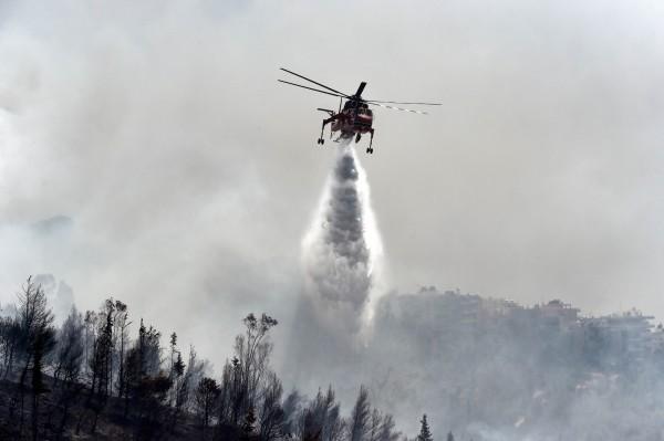 希臘當局出動超過140名消防員、80輛消防車、以及11架飛機滅火。(法新社)