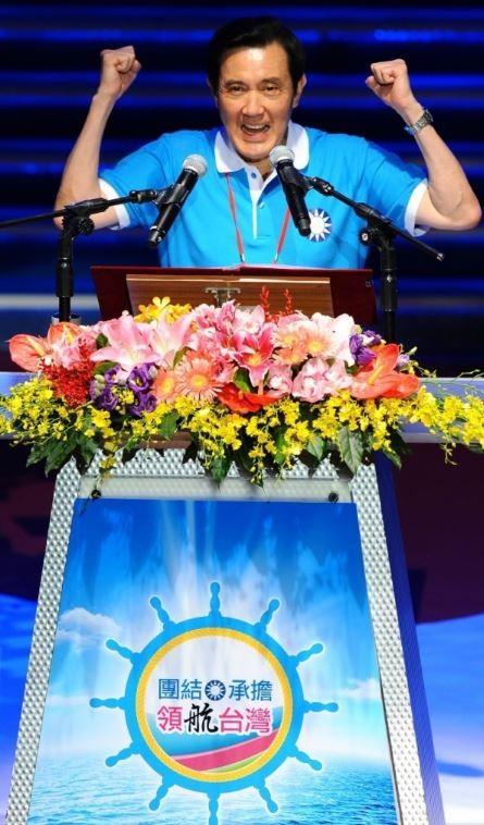 國民黨今召開全代會,總統馬英九上台致詞時提到8年來政績,表示從來沒有對不起台灣。(記者張嘉明攝)