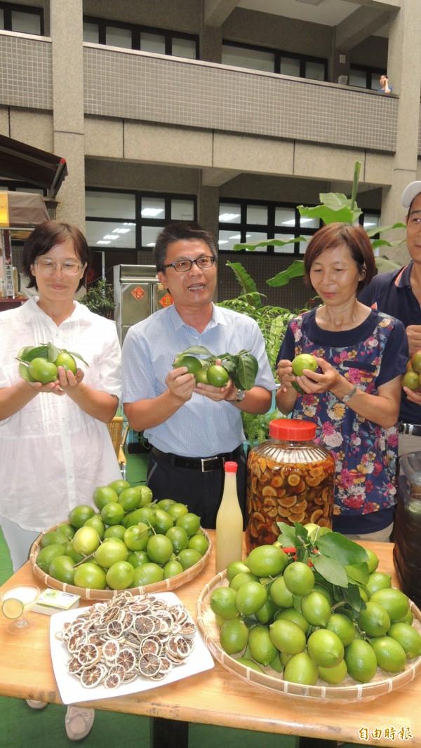 屏縣里港鄉檸檬果農陳麗華(左)和翁錦珍(右)妯娌,合種1公頃無毒檸檬,今年良果率大幅提升。(記者羅欣貞攝)