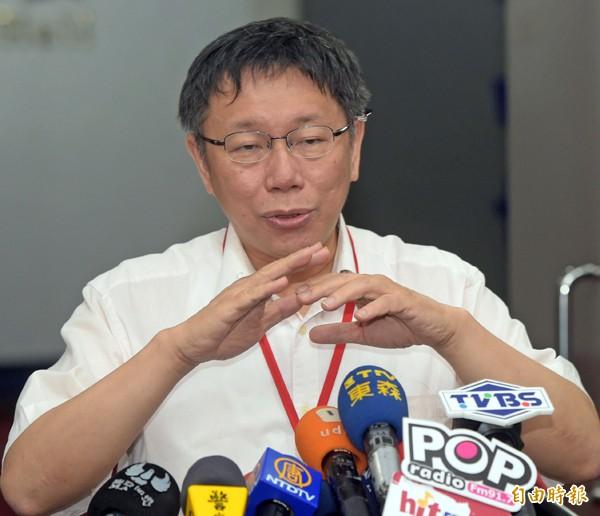 台北市長柯文哲。(記者王敏為攝)