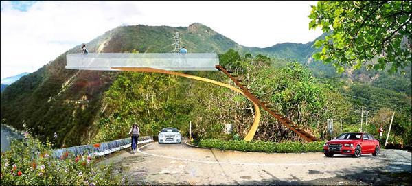 土虱灣觀景台將改為高台懸臂設計,讓遊客飽覽完美曲流與深谷美景,此為3D示意圖。(日管處提供)