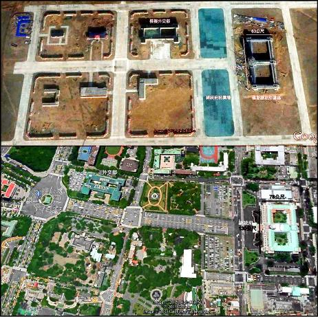 解放軍朱日和基地與我博愛特區對比圖。(讀者蘇冠群提供,圖取自google map)