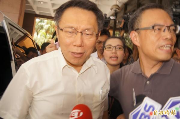 台北市長柯文哲今天下午到北檢出庭。(記者錢利忠攝)