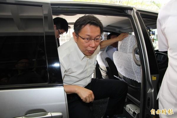台北市長柯文哲今天下午到北檢出庭。(記者謝君臨攝)