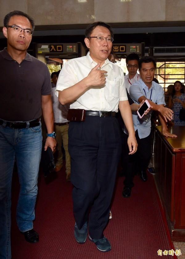 台北地檢署開庭審理MG149案,台北市長柯文哲出庭應訊。(記者羅沛德攝)