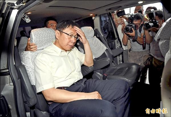台北地檢署昨開庭審理MG149案,台北市長柯文哲(見圖)和國民黨立委羅淑蕾分別以被告、原告身分出庭。(記者羅沛德攝)