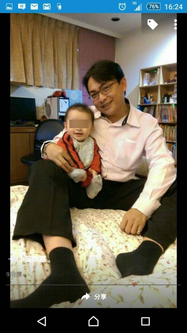 新北市議員曾煥嘉不到1歲的愛子,17日凌晨被印尼籍女看護工帕迪瑪發現猝死。(圖擷取自曾煥嘉臉書)