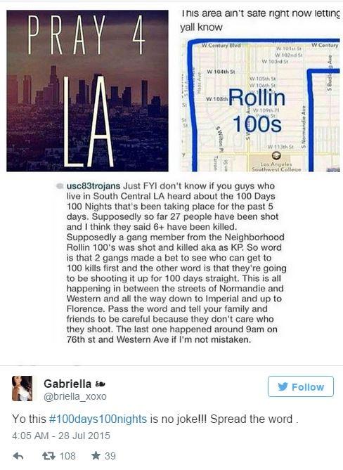 洛杉磯黑幫舉辦傳舉辦「#100days100nights」(100日之內殺100人)的活動,讓警方不敢大意。(圖擷自《華盛頓郵報》)