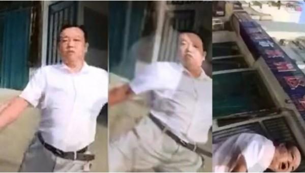 辦事處主任竟出腳踢民眾。(翻攝自上海澎湃新聞網)