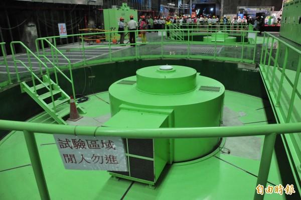 大甲溪電廠青山分廠三號機組已併入系統,進行測試中。(記者李忠憲攝)