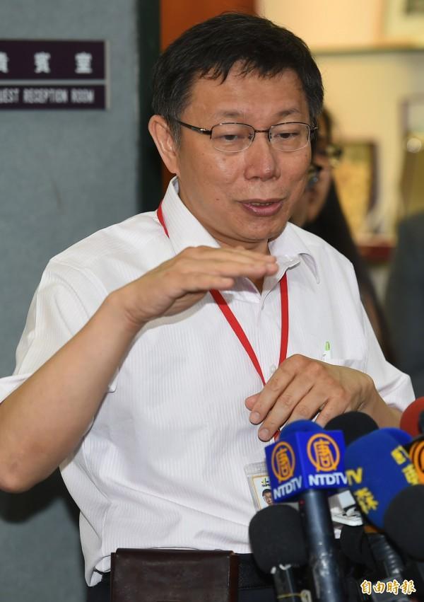 台北市長柯文哲預計在下午2點半到教育部,探視學生和慰勞警察。(資料照,記者張嘉明攝)
