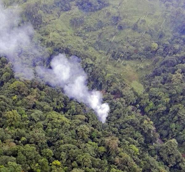 哥倫比亞一架直升機墜毀,機上16名警察身亡。(法新社)